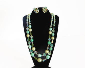 Beautiful Signed Vendome Crystal, Green Glass Bead and Faux Pearl Necklace With Matching Cluster Style Clip On Earrings