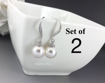 Set of 2 Wedding Earrings Dangle Earrings Swarovski Pearl Earrings Bridal Earrings Bridesmaid Earrings Bridal Jewelry Maid of Honor Gift