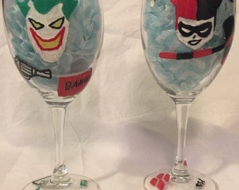 His & Her Joker and Harley Quinn Wine Glasses