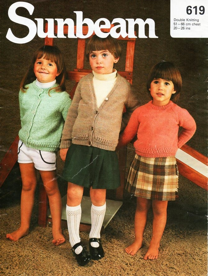Baby Childrens Sweater Cardigans Knitting Pattern Pdf Dk