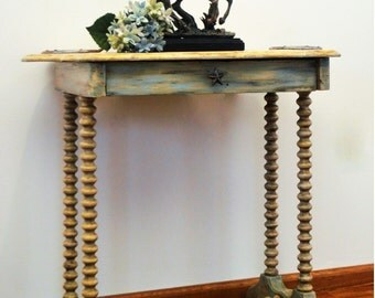 Hand Painted Furniture Occasional Table Home and Living Chic Farmhouse Decor Wood Antique Nostalgic Desk Cowgirl Chic Vintage - AVAILABLE