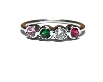Birthstone Mothers Ring-Birthstone Ring-Mothers Ring-Family Ring-Personalized Birthstone Ring-925K Silver Birthstone Ring