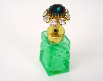 Cut Glass Perfume Crystal Bottle With Rhinestone Top // Pumpless Atomizer // Made In Japan // C. 1940s 1950s // Green Glass Perfume Bottle