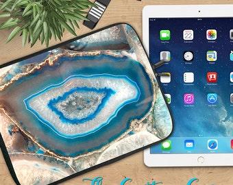 Blue Agate Neoprene Ipad Sleeve, Gemstone in Ipad Sleeve, Ipad 2/3/4, Ipad Air, Tablet Travel Case