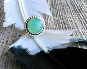 Ocean Blue Ring - Seafoam Green Ring - Faceted Gemstone Ring - Green Chalcedony