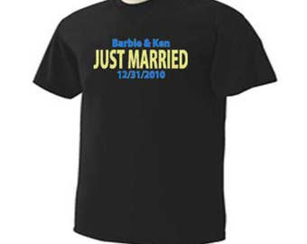 Just Married Personalized Names Date Bride Groom Wedding Bridal Party T-Shirt