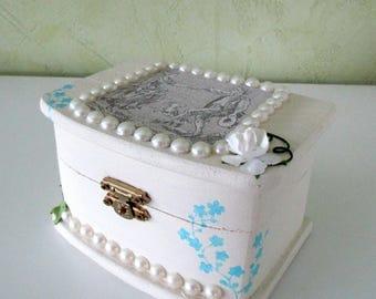 White jewelry box - Jane Austen inspiration