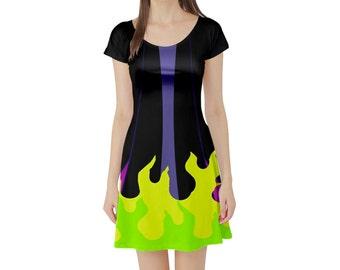 Maleficent Sleeping Beauty Inspired Short Sleeve Skater Dress