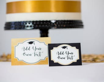 Graduation Party Food Labels INSTANT DOWNLOAD - Gold Black Graduation Party by Printable Studio