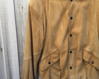 Tan Suede Jacket // Italian Made Suede Jacket // Vintage Jacket