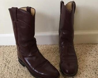 1980's Women's Justin Roper Boots- Burgundy