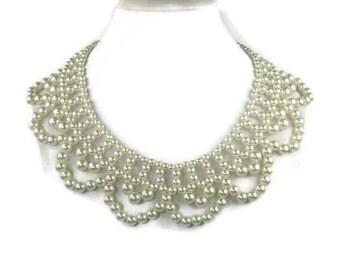 Vintage Beaded Pearl Collar