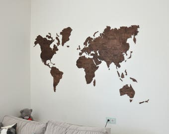 Home Wall Art Wooden World Map Large Map of the World Travel Rustic Home Office decor Dorm Living room Wanderlust Gift for Husband Boss