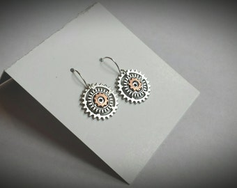 Industrial Mixed Metal Repurposed Gear and Hardware Earrings, Cyberpunk Cog Silver and Copper Jewelry, Techie Engineer Steampunk Accessories