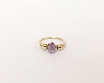 14K Solid Gold Tiny Hoop Amethyst Nose Ring Solid Gold Nose Ring, Septum Jewelry Solid Gold Nose Hoop Nose Piercing Hoop, Piercing Nose Hoop