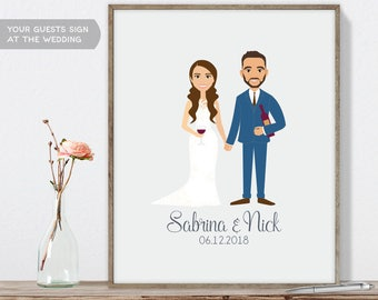 Winery Wedding Guest Book Portrait / Personalized Portrait Guestbook / Wine Glass, Wine Bottle ▷ Printable File {or} Printed & Shipped