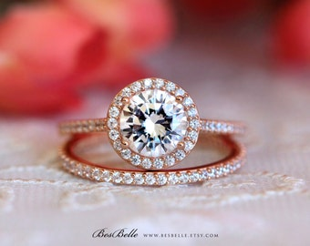 2.13 ct.tw Halo Bridal Set Ring-Halo Engagement Ring W/ All or Half Eternity Wedding Ring-Rose Gold Plated-Sterling Silver [0754RG-2]
