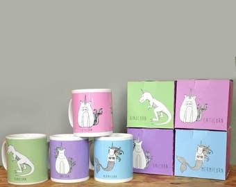 Unicorn Mug Set - Gift Boxes - Unicorn Mermaid - Unicorn Cat - Unicorn Dinosaur - Coffee Cup - Unusual Gift - Quirky - Gifts for Her