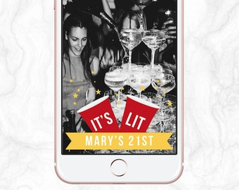 It's Lit Drake - Red Solo Cup Star Birthday Snapchat Geofilter