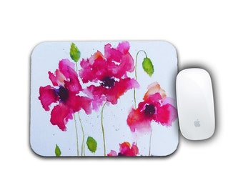 Flower Mousepad, Office Decor, Red Poppies, Mousepad, Computer Accessory, Desk Accessory, Computer Mousepad, Watercolor Poppies, Desk Decor