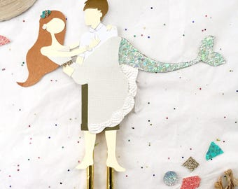 Mermaid Wedding Cake Topper