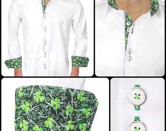 White St Patrick's Day Men's Designer Dress Shirt - Made To Order in USA