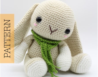 Crochet Amigurumi Bunny Rabbit PATTERN ONLY, Woodland Baby Bunny, pdf Stuffed Animal Toy Pattern
