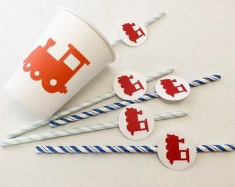 Party Straws - Train Party - Train Birthday - Train Party Supplies - Train Birthday Decor - Choo Choo - Trains - Baby Shower - Train Straws