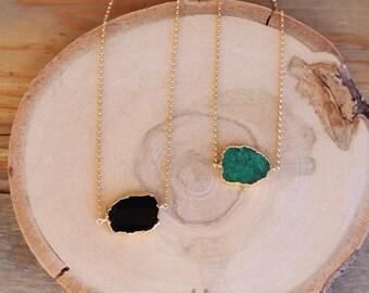 Emerald or Black Spinel Gemstone Slice Necklace // 24k Gold Edged Druzy Necklace