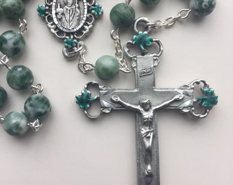 Handmade Irish Rosary with Saint Patrick and Shamrocks, Tree Agate, Enameled Pewter, Ireland, Catholic Gift, Celtic, Free Shipping in US