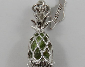 Pineapple Filled With Green Stones & Hawaii Tag Sterling Silver Vintage Charm For Bracelet