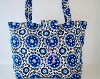 Blue medallion quilted tote bag - Monogrammed tote bag - Handbag - Quilted purse - Personalize bag - Quilted bag - Handbag - Tote bag