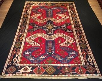 Persian Soumak Rug, Vintage Embroidery Soumak Rug, Persian Colorful Rug,  6u00279 x 10u0027 (200 cm x 300 cm), 40 years old Persian Rug
