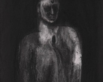 Figurative Charcoal Drawing ' Pour'  - Giclee Print -