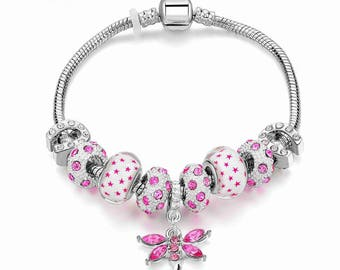 Authentic  Affordable Pandora Style 'Butterfly and Polka Dots' Bracelet