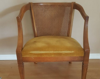 Vintage Cane Chair, Yellow Cane Chair, Home Furnishing, Mid Century, MCM