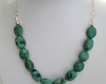 Real turquoise and sterling silver necklace