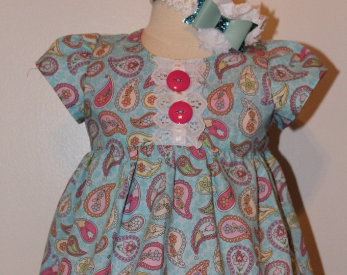 Baby girl blue paisley dress, Easter dress, Summer dress,Aqua blue Sun dress, Aqua blue stretch headband, Beach dress, Short sleeve dress