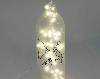 Beauty and the Beast Wine Bottle Lamp / Wedding Gift / Anniversary Present