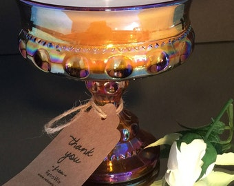 Vintage Glass Soy Candle - Carnival - Compote - Indiana Co. - Marigold King's Crown Pattern - Buttercream