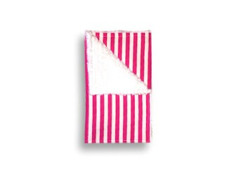 """Burp Cloth """"Hot Pink Stripes"""" ~ Baby/Toddler/drool//White"""