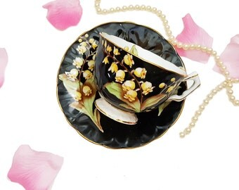 Hand Painted Aynsley Black Teacup Yellow Bell Flowers Shabby Chic Floral Bone China,