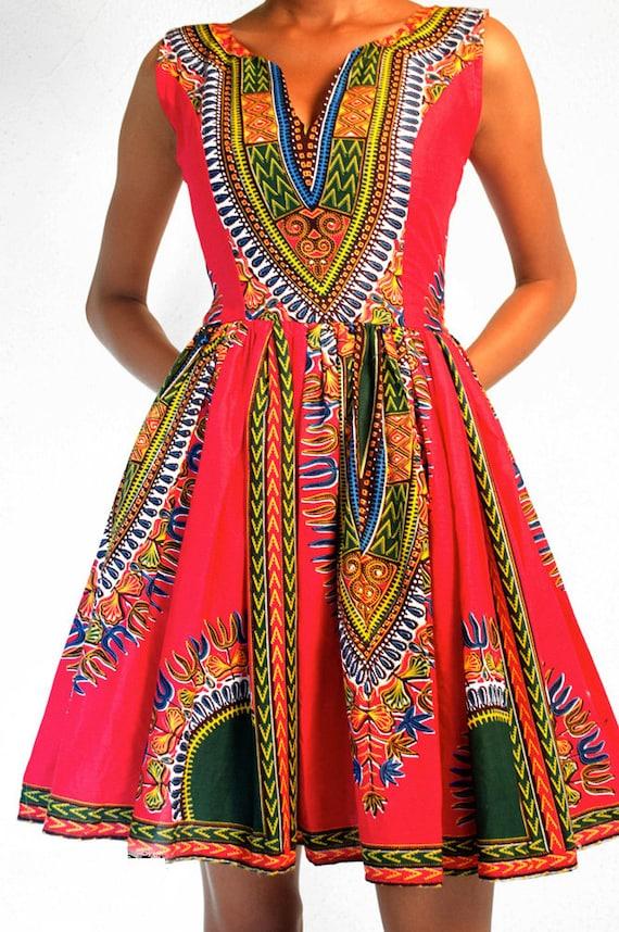 Beautiful African Print Dress; Ankara Dress; Cocktail Dress