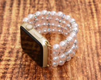 Fake Pearl apple watch band 38mm / 42mm // apple watch accessories - apple watch strap - iwatch band - lugs adapter - no-clasp - stretch fit