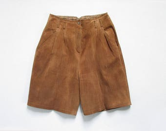 vintage suede leather shorts / high waisted knee length shorts / womens M - L