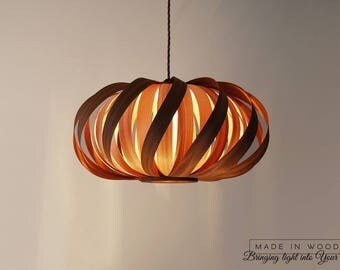 SALE! Ceiling light Modern Natural Wood Veneer Exclusive Lamp Pendent Lampshade Lighting Patio Light Hanging Light From mahogany and ash