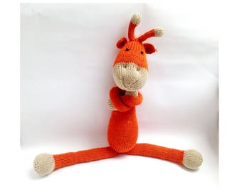 Knitted GIRAFFE toy, Stuffed animal, crochet toy, Amigurumi animals, crochet animals, natural toy natural animal eco toys soft giraffe plush