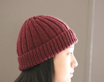 Merino Knit Hat Beanie, Knitted Beanie, Slouchy Hat, Dark Red Wine Beanie Hat