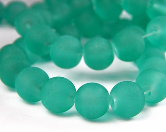 15 Inch Strand - 10mm Round Transparent Light Sea Green Frosted Glass Beads - Sea Glass Beads - Glass Beads - Jewelry Supplies