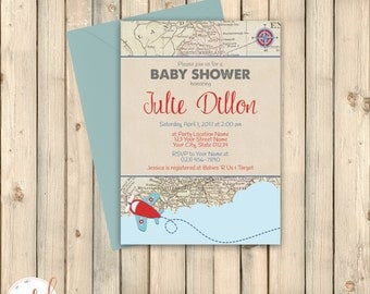map invite | etsy, Baby shower invitations